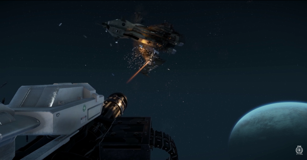 Star Citizen also has an amazing damage model.  Damage on a ship is calculated in real time and not pre-rendered, and if you manage to shoot off an enemy's wing Newtonian physics will send that craft spinning or even shunt it to the side as it losses mass.