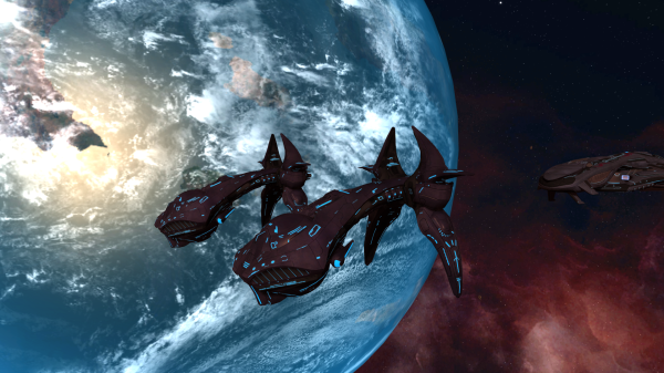 Two CPV-class heavy destroyers escorting an ORS-class heavy cruiser. These pictures are all in-game screenshots. I'm telling you, this game is beautiful!