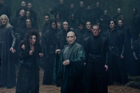 Voldemort (Ralph Fiennes) asks to check if Harry is dead. Lucius Malfoy - Jason Isaacs, Bellatrix Lestrange - Helena Bonham Carter. The Forbidden Forest. (SC334)